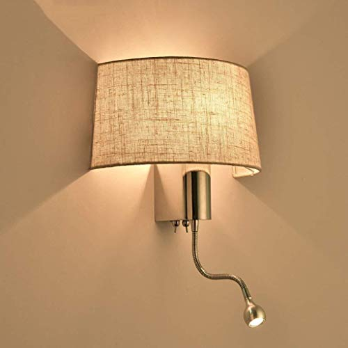 WASHULI Lámpara de Pared De Metal Ligero de la Pared, lámpara de Pared Moderna con Pantalla de Tela de luz LED de la lámpara, montado en la Pared for el Dormitorio de la Sala de Cocina Luz de Pared