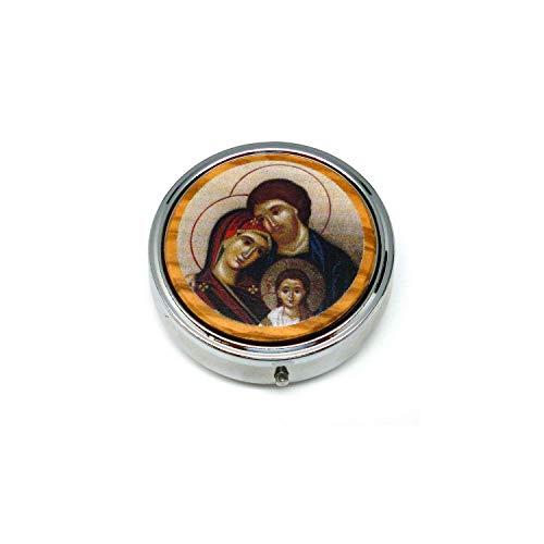 DELL'ARTE Artículos religiosos porta rosario teca, pastillero de 6,2 cm con icono Sagrada Familia sobre madera de olivo SRL