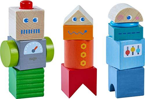 HABA 304353 - Entdeckersteine Roboter-Freunde, Holzspielzeug mit bunten Bausteinen ab 2 Jahren, großer Spielspaß dank vielfältiger Kombinationsmöglichkeiten