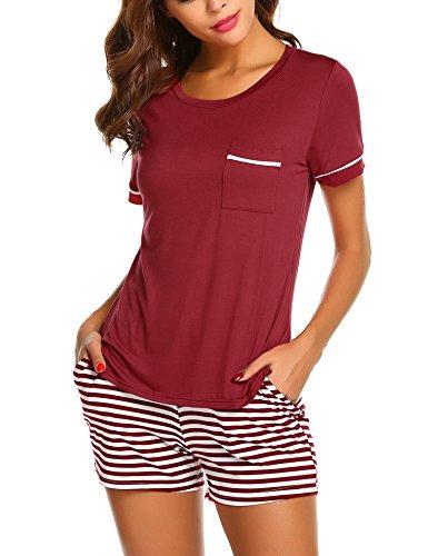 Unibelle Schlafanzug Damen Kurz Pyjama Shorty Nachtwäsche Kurzarm Gestreift Shirt und Gummiband Shorts