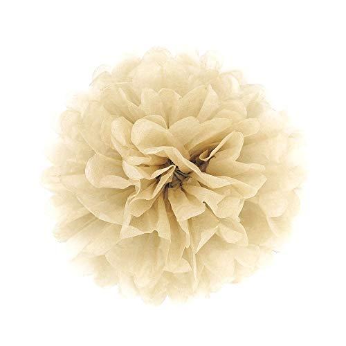 JZK 10 x Pompoms Pompons, 25cm Durchmesser, Seidenpapier Blume Dekoration für Wohnzimmer Hochzeit Geburtstag Babyparty Kinder Party Weihnachten Silvester, Khaki/Hellbraun