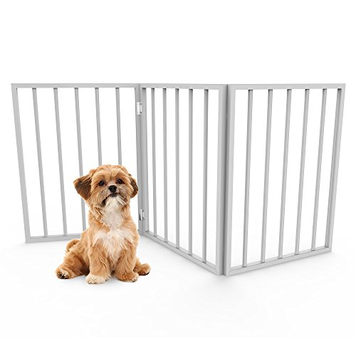 Foldable, Free-Standing Wooden Pet Gate- Light Weight, Indoor Barrier for Small Dogs / Cats by PETMAKER- White, 24 Inch Step Over Doorway Fence