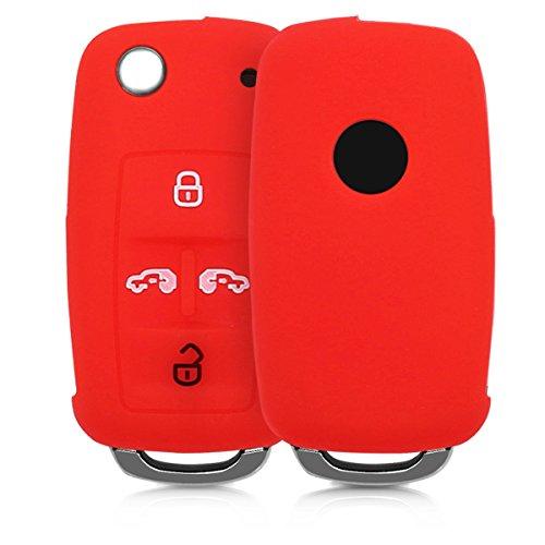 kwmobile Autoschlüssel Hülle kompatibel mit VW Seat 4-Tasten Klapp Autoschlüssel - Silikon Schutzhülle Schlüsselhülle Cover in Rot