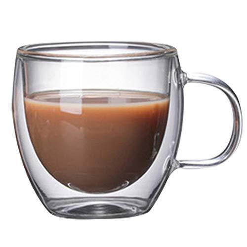 Kaffee- Teegläser Kaffeetasse Doppel Hitzebeständiges Glas Kreative Tee Tasse Isolierte Tasse Kaltes Getränk Milch Saft Tasse Becher (Color : Clear, Size : 7.5 * 8cm)