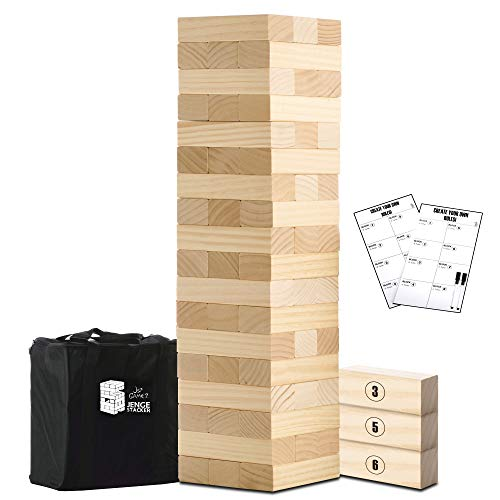 Large Tumble Tower Wooden Timber Stacking Games Outdoor Games for Adults and Family Lawn Games - Includes Rules and Carrying Bag-54 Pcs Premium Wood