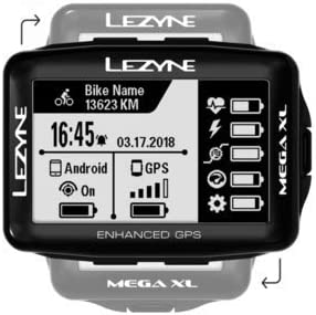 LEZYNE Mega XL GPS Bicycle Computer, 48H Runtime, USB Rechargeable, ANT+ and Bluetooth Smart, Cycling GPS System
