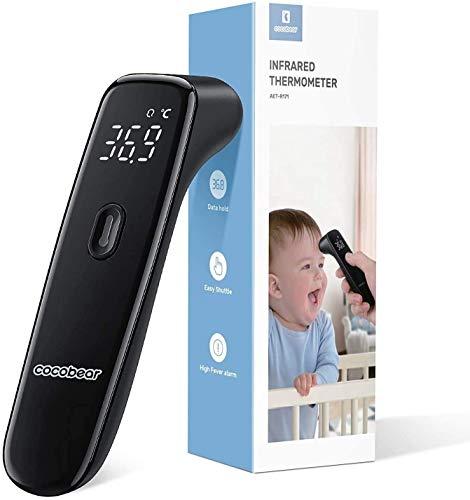 Termómetro infrarrojo sin contacto, termómetro digital de fiebre CocoBear, termómetro para adultos y bebés, con alarma de fiebre y función de memoria