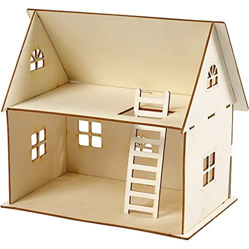 Puppenhaus zum Zusammenbauen, H 25 cm, Größe 18x27 cm, Sperrholz, 1Stck, Stärke: 4 mm