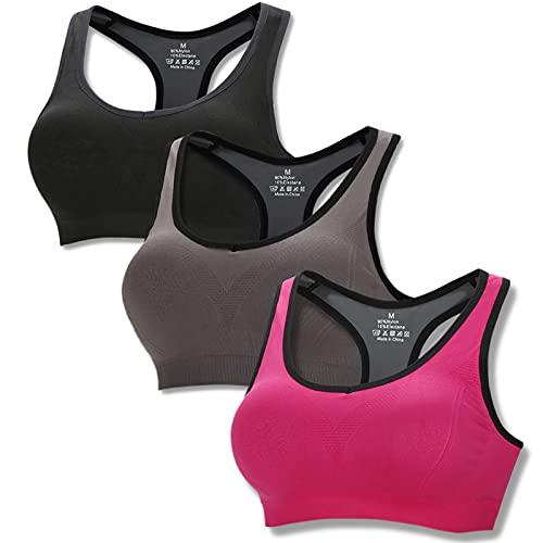 Sujetador Deportivo para Mujer Almohadillas Extraíbles Sin Aros Alto Impacto Racerback Gimnasio Yoga Running Salud, Negro+Gris+Rosa-XL