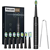 Electric Toothbrush, Fairywill Sonic Toothbrush Tongue Scraper for Adults and Kids, 8 Brush Heads 5 Modes Memory, Rechargeable Toothbrush with Timer, 4 Hr Charge for 30 Days, E10 Whitening Toothbrush