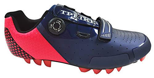 TPBIKE Mens Mountain Cycling Shoes, Mens MTB Bike Shoes, Mountain Lock Bicycle Shoes, SPD Riding MTB Cycling Shoes for Mens (Navy/Orange, Numeric_10)