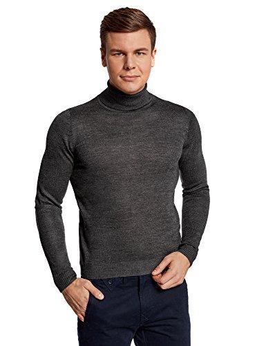 oodji Ultra Herren Pullover Basic, Grau, DE 50 / M