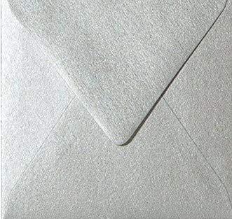 Paper24 25 quadratische Briefumschläge, Kuverts in Silber (100g), Format: 125 x 125 mm (12,5 x 12,5 cm) mit Dreieckslasche
