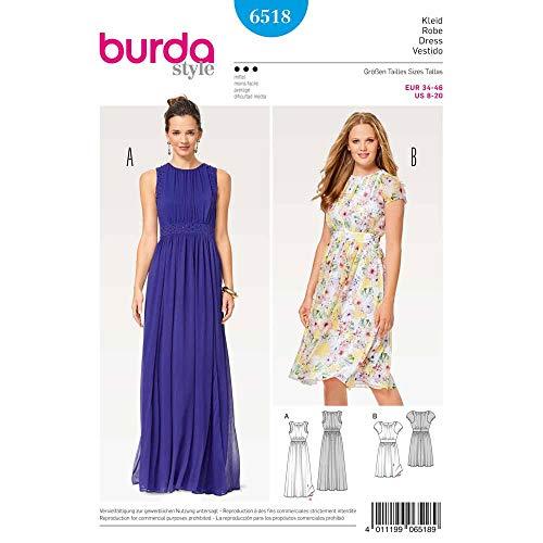 Burda 6518 Schnittmuster Abendkleid mit doppellagiger Taillenblende (Damen, Gr. 34-46) Level 3 mittel