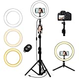 QI-EU 10.2' Selfie Ring Light with Tripod Stand & Cell Phone Holder for Live Stream/Makeup, Mini Led Camera Ringlight for YouTube Video/Photography/Tiktok Compatible with iPhone and Android Smartphone