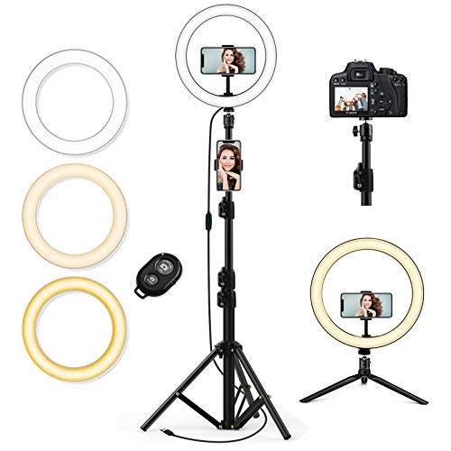 "QI-EU 10.2"" Selfie Ring Light with Tripod Stand & Cell Phone Holder for Live Stream/Makeup, Mini Led Camera Ringlight for YouTube Video/Photography/Tiktok Compatible with iPhone and Android Smartphone"
