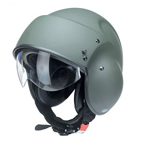 Redbike Helm RB-850 Pilotenhelm XS matt-olivgrün 46x41x5cm Jethelm Motorrad ABS