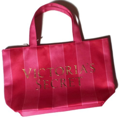 Victoria's Secret Mini Tote Bag Pink and Red Striped with Victoria's Secret Across the Front (Size 12' X 7' X 3')