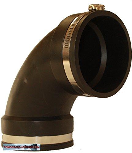 Gummibogen, flexibler 90° Winkel - Flexfitting aus PVC Elastomer für die Teichverrohrung, den Pumpeneinbau, die Reparatur oder Sanierung undichter Rohrstellen im Haushalt, Garten und am Koiteich, Flexibler Gummibogen - bitte wählen Sie die gewünschte Größe im Folgenden aus. (110mm)
