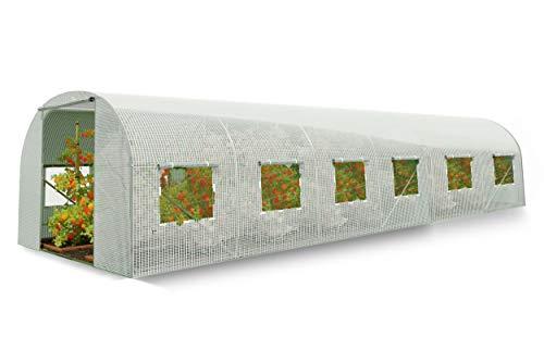 Plonos Gewächshaus Gartentunnel Folientunnel Garten Treibhaus (3 x 6 m, Weiß)