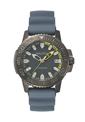 Nautica Herren Datum klassisch Quarz Uhr mit Silikon Armband NAPKYW004