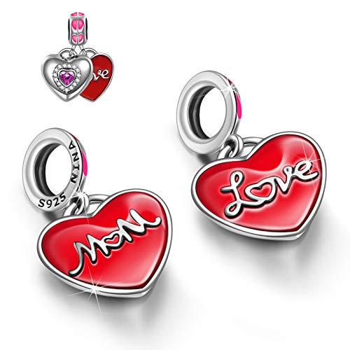 NINAQUEEN Charm fits Pandora Charms Best Mum 925 Sterling Silver Heart Pendant Zirconia Mothers Day Gifts for Her Birthday Gifts for Women with Jewellery Box, for Bracelet & Necklace
