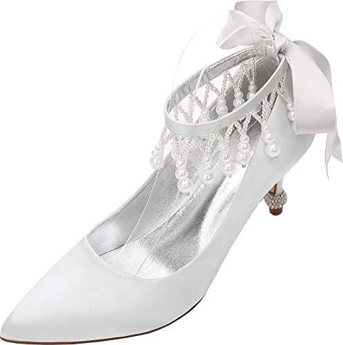 Find Nice Zapatos de boda para mujer con perla puntiaguda y correa al tobillo para novia con hebilla de boda, color Plateado, talla 36.5 EU