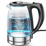 DreamHigh Hervidor de Cristal, Hervidores Eléctrico con Iluminación Led de 1,7 Litros de Capacidad, 2200 W de Potencia, Libre de BPA y Sistema de Protección Contra la Ebullición en Seco