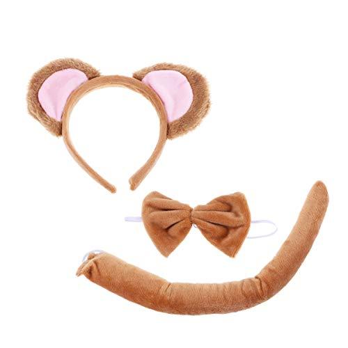 Tomaibaby Affenkostüm Kostüm Affe Cosplay Set 3 in 1 Affe Ohren Stirnband Bowtie und Schwanz für Halloween Cosplay Kostüm Partyartikel