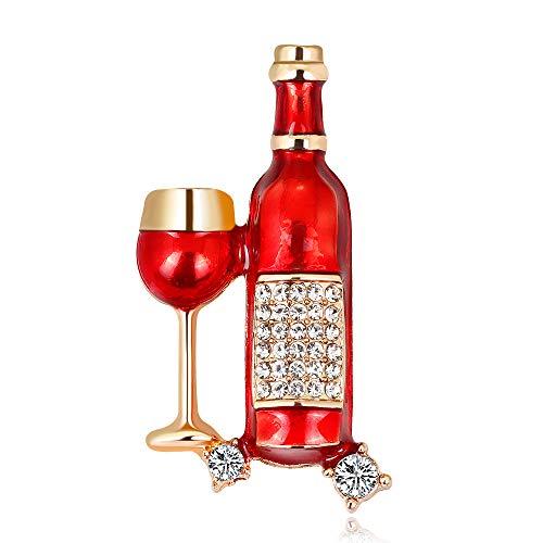 YAZILIND Elegant Rhinestone Winebottle Wine Glass Brooch Pin Corsage Women Accessories