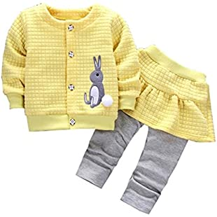 Moginp Newborn Long Sleeve Winter Outfits, For 0-2 Years Old Baby Girl Toddler Infant Rabbit Print Tops Coat+Pants Clothes Set (Yellow, 6-12 Months)