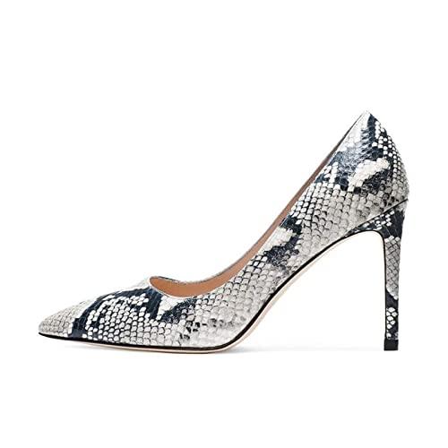 Tacones Altos de Cuero for Mujer,Tacones de Stiletto de Punta,Patrón de Piel de Serpiente,Zapatos for Mujer,Zapatos de Boda,Soles de Goma Antideslizantes,Blanco,37 EU ( Color : White , Size : 42 EU )