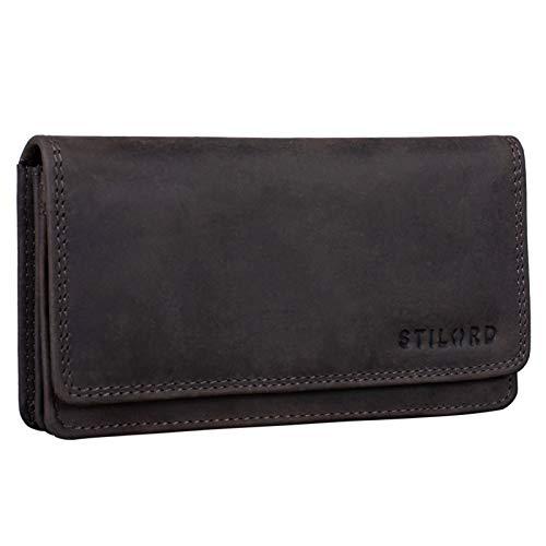 STILORD 'Lotta' Leder Geldbörse Frauen RFID und NFC Schutz Vintage Frauen Portemonnaie Quer mit Ausleseschutz in Geschenkbox, Farbe:dunkel - braun