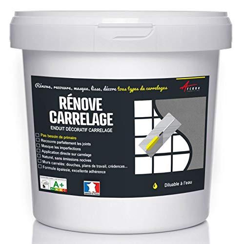 Putz für Fliesen - Fliesen verputzen - Betonbeschichtungs-Effekt - RENOVE CARRELAGE - Maus - Kit 10kg - 6.5m² für 2 Schichten