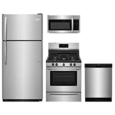 """Frigidaire 4-Pcs Stainless Steel Kit Package with FFTR1821TS 30"""" Top Freezer fridge, FFGF3054TS 30"""" Freestanding Gas Range, FFBD2412SS 24"""" Full Console D/W and FFMV1645TS 30'' Microwave oven"""