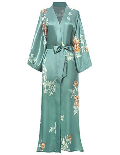 BABEYOND Damen Morgenmantel Maxi Lang Seide Satin Sommer Kimono Kleid Klassisch Blumen Muster Kimono Bademantel Damen Lange Robe Blumen Schlafmantel Girl Pajama Party (1-Silber Grün)