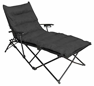 Indoor outdoor folding chaise lounge chair with for Black chaise lounge indoor