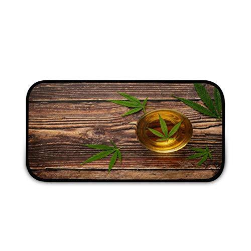Felpudo de cristal de cáñamo con hojas verdes, fácil de limpiar, antideslizante, para patio, puerta, entrada, garaje, cocina, baño, lavandería, todo tipo de clima, interior/exterior
