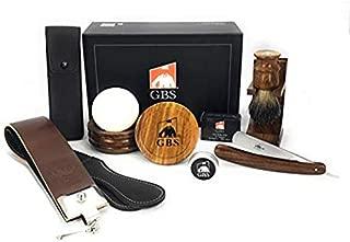 GBS Mens Luxury Shave Ready Wood Straight Razor Shaving Set 9 Pcs: 5/8' Cut Throat Razor + Case, Razor Strop, Brush, Bowl + Soap, Brush & Razor Stand, Honing Paste, Alum Block