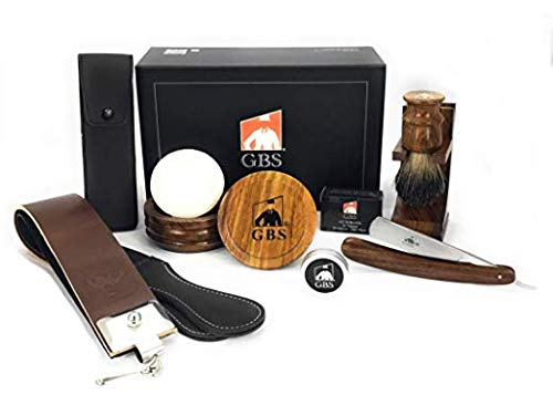GBS Men's Luxury Shave Ready Wood Straight Razor Shaving Set 9 Pcs 5/8' Cutthroat Razor and Case, Razor Strop Brush Bowl and Soap Brush and Razor Stand Honing Paste Alum Block