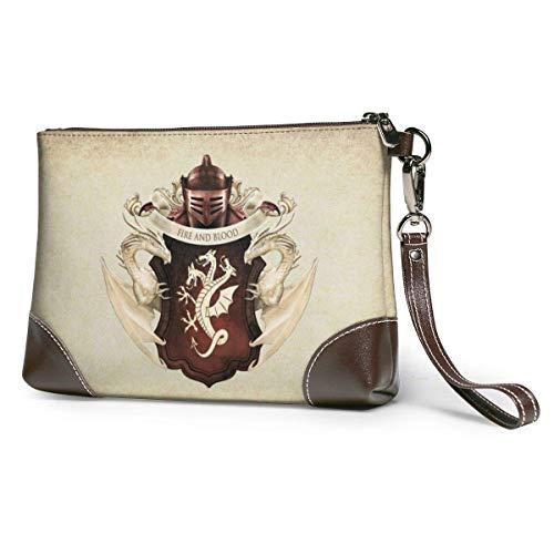 Ahdyr bolso de mano de cuero para mujer Juego de tronos Bolso de mano de cuero para mujeres y hombres Pulsera de cuero suave con cremallera de metal y cuero de primera calidad