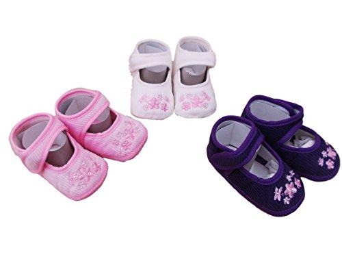 Soft Touch Babyschuhe aus Cord, Rosa oder Elfenbein oder Violett, Pink - Rose - Größe: 9-12 Monate