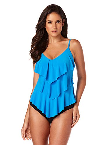 Magicsuit Women's Swimwear Solid Rita V-Neck Tankini Top with Soft Cup Bra and Adjustable Straps, Azure, 08