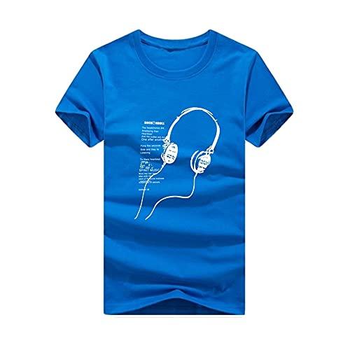 Camiseta Hombre Slim Fit Estampado Largo Rock'n'Roll Party Camiseta Casual Verano Manga Corta Camiseta con Cuello Redondo Moda Juvenil Estilo Universitario Camiseta para Hombre G-Blue 2 4XL