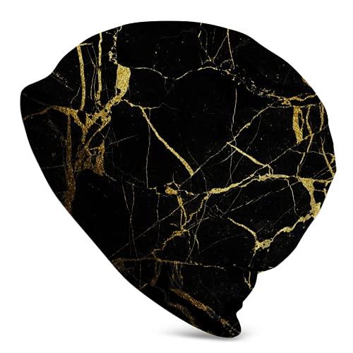 Fodmua Gorras de ciclismo de mármol negro y dorado para hombres mujeres