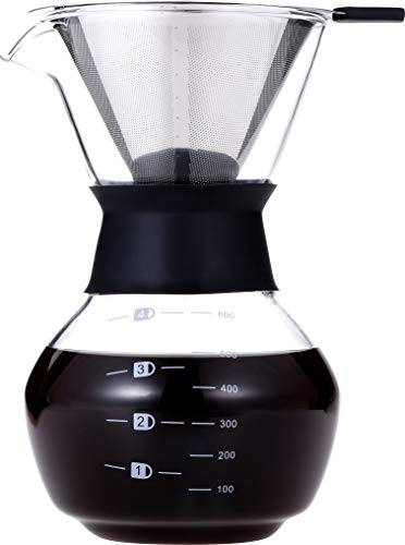 Pour Over Coffee Maker 20 ozPour Over Coffee Dripper Glass CarafePour Over Coffee Maker with HandlePour Over Coffee Maker with Borosilicate Glass Carafe