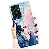 Newseego Compatible with Samsung Galaxy S21 Ultra Case Cover (6.8 Inch) with Diamond Ring Kickstand, Glossy Marble Stylish Slim TPU Silicone Protective Case for Girls Women - Blue Pink