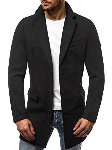 MOODOZ Herren Mantel Wintermantel Winterjacke Sakko Coat Modern Warm Täglichen Stehkragen JS/NZ001 SCHWARZ XL