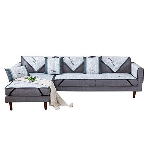 YUTJK Península de la Estera del sofá de Verano Adaptable,Fundas de Almohada cuadradas Funda de sofá,Suaves para el sofá,el Dormitorio y el Coche,Gris Claro_80×210cm