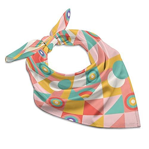 Ovear Bandanas Colored Abstract Geometric Silk Neck Scarf Soft Kerchiefs Multi-Purpose Headbands for Women Men